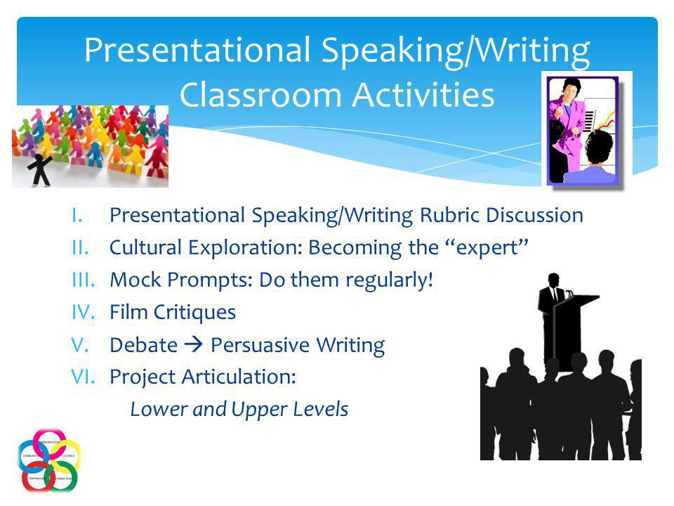 I.Presentational Speaking/Writing Rubric Discussion II.Cultural Exploration: Becoming the expert III.Mock Prompts: Do them regularly.