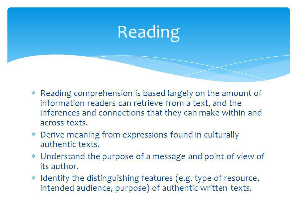 Reading comprehension is based largely on the amount of information readers can retrieve from a text, and the inferences and connections that they can make within and across texts.