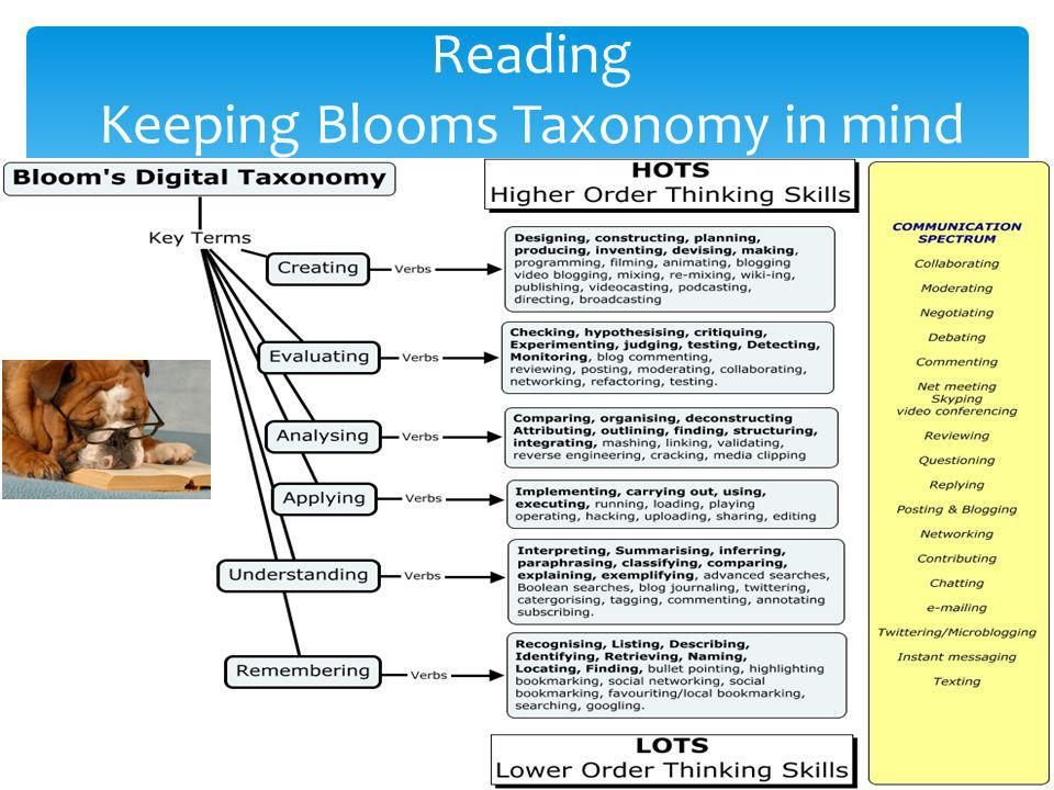 Reading Keeping Blooms Taxonomy in mind