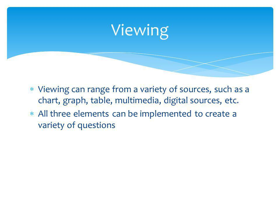 Viewing can range from a variety of sources, such as a chart, graph, table, multimedia, digital sources, etc.