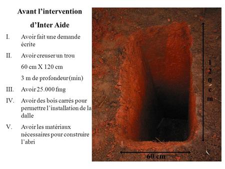Avant l'intervention d'Inter Aide 120 cm