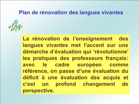 Plan de rénovation des langues vivantes