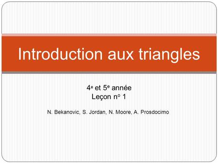 Introduction aux triangles