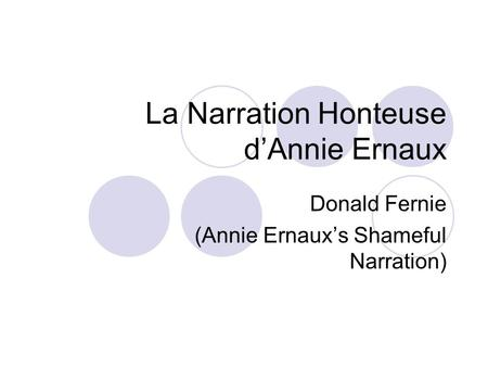 La Narration Honteuse d'Annie Ernaux Donald Fernie (Annie Ernaux's Shameful Narration)