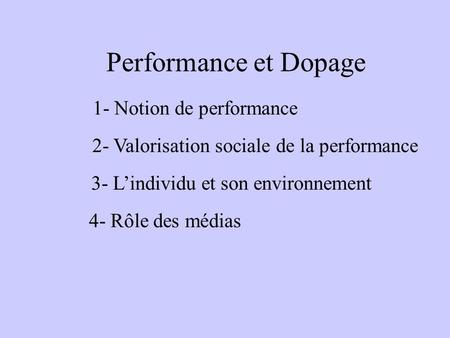 1- Notion de performance