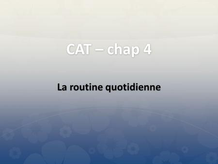 CAT – chap 4 La routine quotidienne se maquiller.