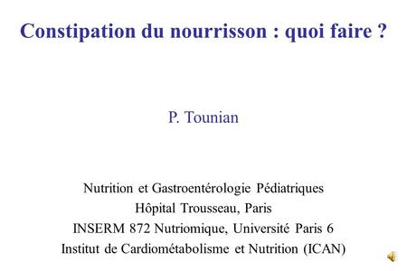 Constipation du nourrisson : quoi faire ?