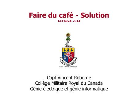 Faire du café - Solution GEF492A 2014