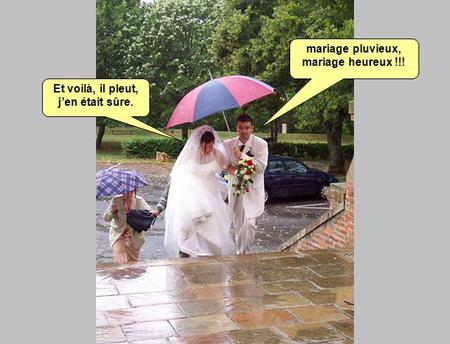 mariage pluvieux, mariage heureux !!!