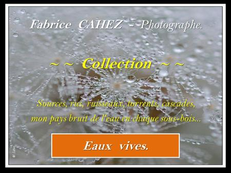 ~ ~ Collection ~ ~ Fabrice CAHEZ - Photographe. Eaux vives.