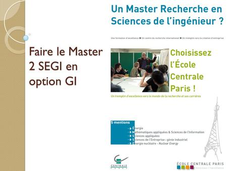 Faire le Master 2 SEGI en option GI