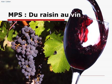 Alain Cotten MPS : Du raisin au vin. Alain Cotten.