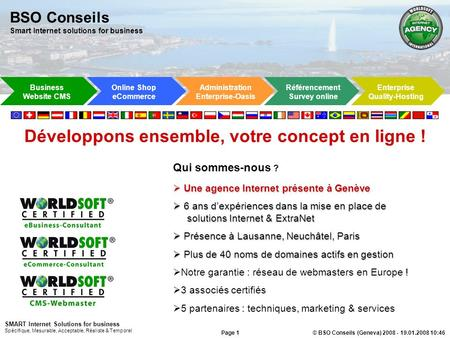 BSO Conseils Smart Internet solutions for business Online Shop eCommerce Administration Enterprise-Oasis Enterprise Quality-Hosting Référencement Survey.
