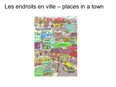Les endroits en ville – places in a town. Today's sounds are é ci / ce ch eau en oi in.