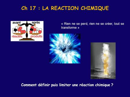 Ch 17 : LA REACTION CHIMIQUE