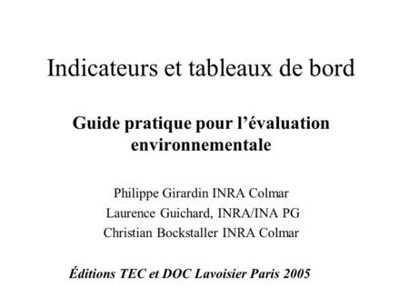 Indicateurs et tableaux de bord