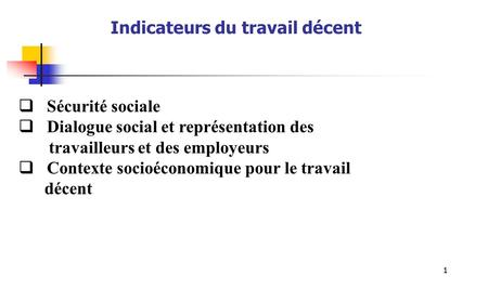 Indicateurs du travail décent