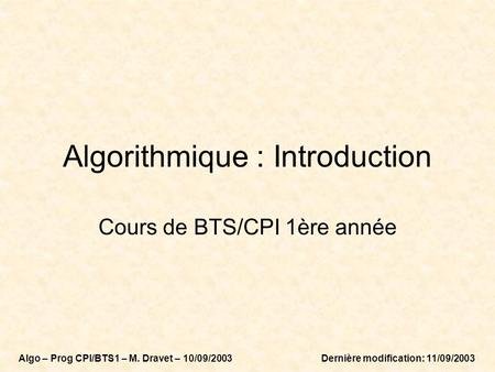 Algorithmique : Introduction