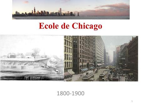 Ecole de Chicago 1800-1900 1. L'évolution de la Population de Chicago Population de la Ville de Chicago [53] [53] AnnéePopulation Rang national 18404.