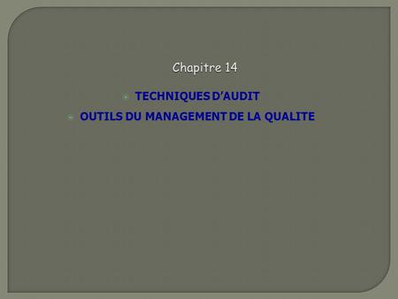TECHNIQUES D'AUDIT OUTILS DU MANAGEMENT DE LA QUALITE