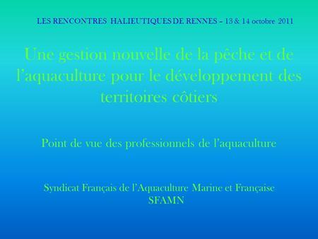 Rencontres halieutiques bretonnes