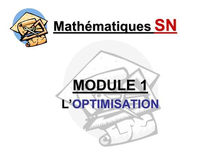 MODULE 1 L'OPTIMISATION