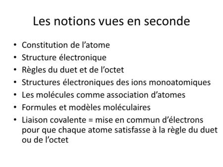 Les notions vues en seconde