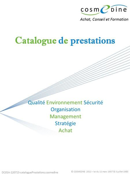 Catalogue de prestations