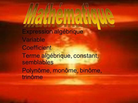 Mathématique Expression algébrique Variable Coefficient