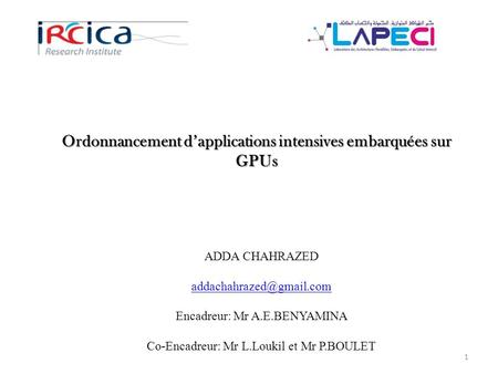 Ordonnancement d'applications intensives embarquées sur GPUs