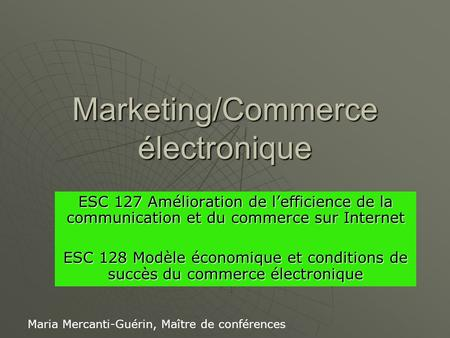 Marketing/Commerce électronique
