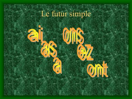 Le futur simple ai ai ons ons as as ez ez a a ont ont.
