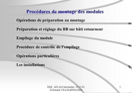 Procédures de montage des modules