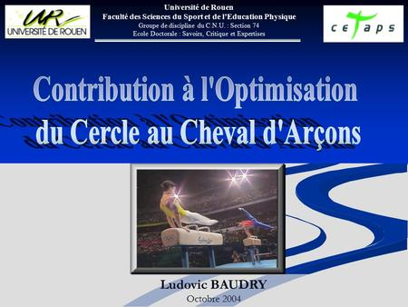 Contribution à l'Optimisation du Cercle au Cheval d'Arçons