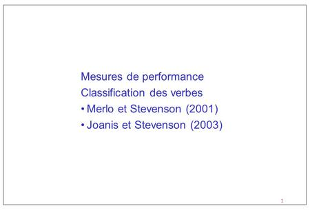 Mesures de performance