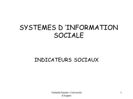 SYSTEMES D 'INFORMATION SOCIALE