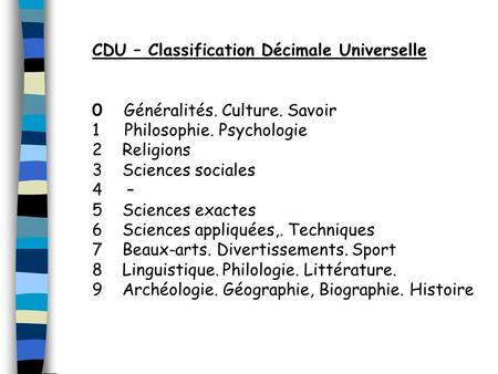 CDU – Classification Décimale Universelle