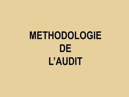 METHODOLOGIE DE L'AUDIT. Séance 3  Méthodologie de l'audit.