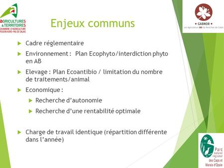 Enjeux communs  Cadre réglementaire  Environnement : Plan Ecophyto/interdiction phyto en AB  Elevage : Plan Ecoantibio / limitation du nombre de traitements/animal.