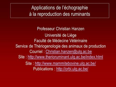 Applications de l'échographie à la reproduction des ruminants