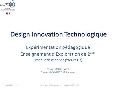 Design Innovation Technologique