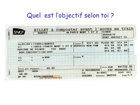 Quel est l'objectif selon toi ?. On the train ticket I gave you highlight: 1. the name of the French train company 2. the number of people who can travel.
