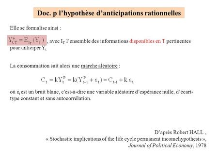 Doc. p l'hypothèse d'anticipations rationnelles