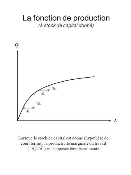 La fonction de production (à stock de capital donné)