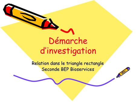 Démarche d'investigation Relation dans le triangle rectangle Seconde BEP Bioservices.