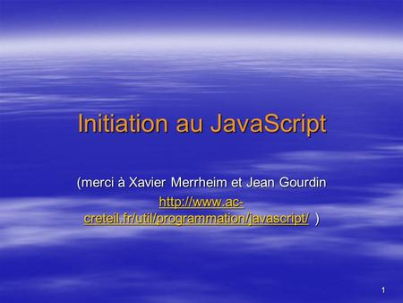 Initiation au JavaScript