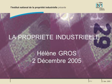 LA PROPRIETE INDUSTRIELLE