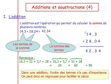 Additions et soustractions (4)