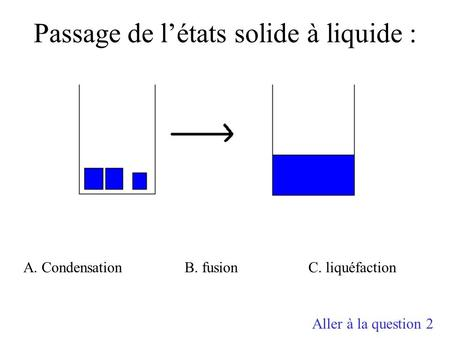 Passage de l'états solide à liquide : A. CondensationB. fusionC. liquéfaction Aller à la question 2.