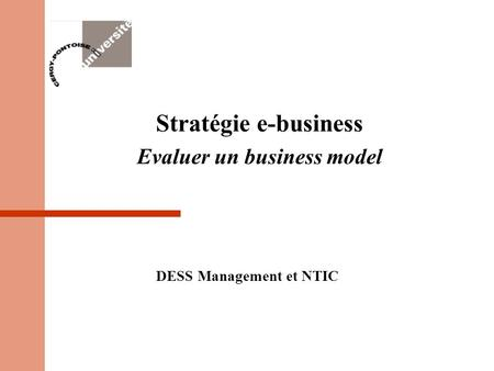 Stratégie e-business Evaluer un business model DESS Management et NTIC.